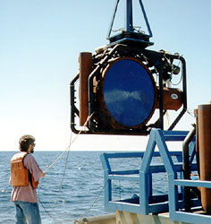 Photo of a sound source being deployed
