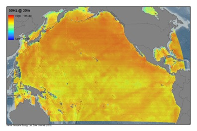 Average annual noise level in the Pacific Ocean in dB re µPa2/Hz for a frequency of 50 Hz and at 30 m depth due to large commercial ships.