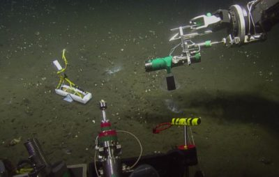 A hydrophone being deployed by a ROV.