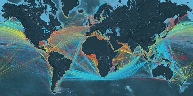 map showing ship traffic density in 2012.