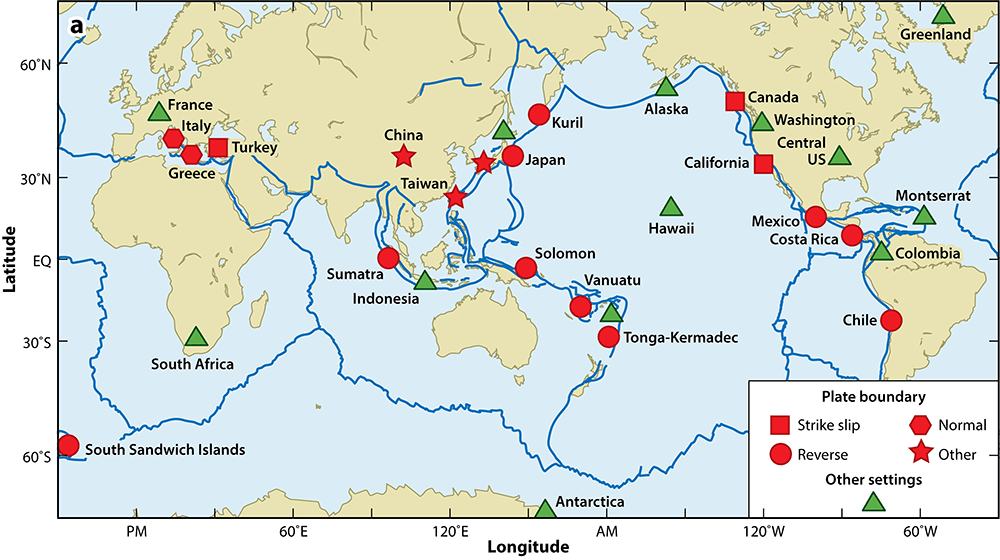 World map showing locations of know repeating earthquakes.